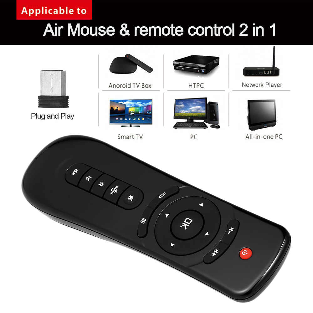 T2 Fly Air Mouse 2.4G Nirkabel 3D Gyro Motion Stick Remote Control untuk PC Smart TV Android TV Box