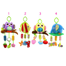 Infant Plush Toys Wind Chimes Newborn Crib Owl/Fish/Elephant Animal 0-3 Years Baby Bed Hanging Rattles Bell Toy YJS Drop