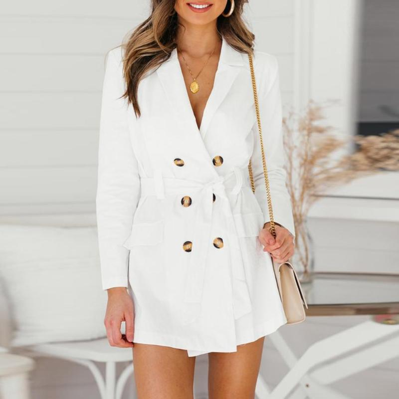 Sexy V-Neck Double-Breasted   Trench   Coat Women Slim Tunic with Belt