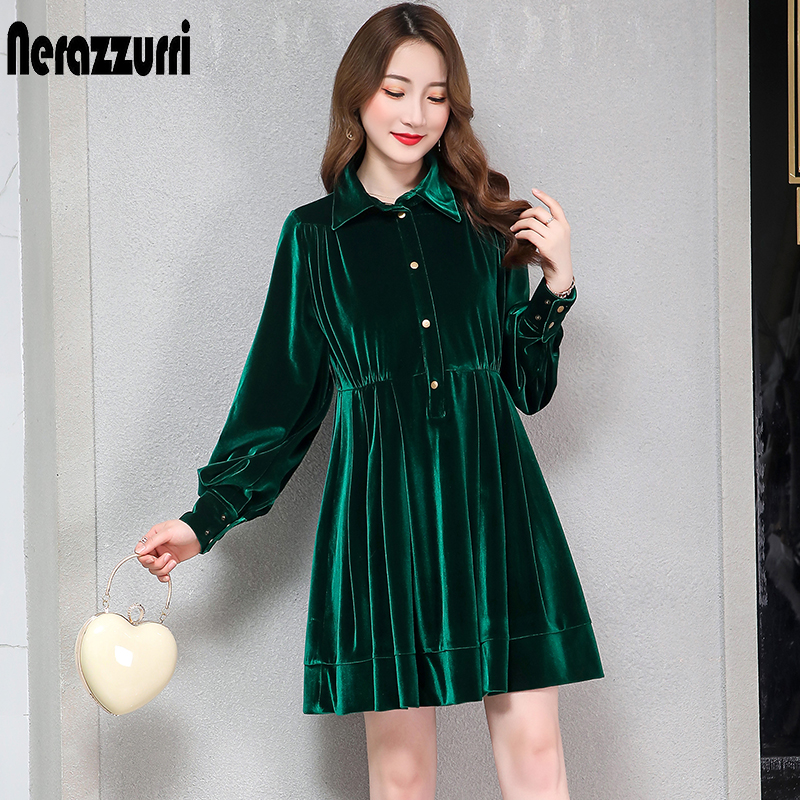 US $31.5 50% OFF|Nerazzurri velvet dress women pleated warm black green  long sleeve velour dress button knee length plus size fall dress 6xl 7xl-in  ...