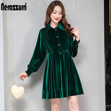 green dress velvet button