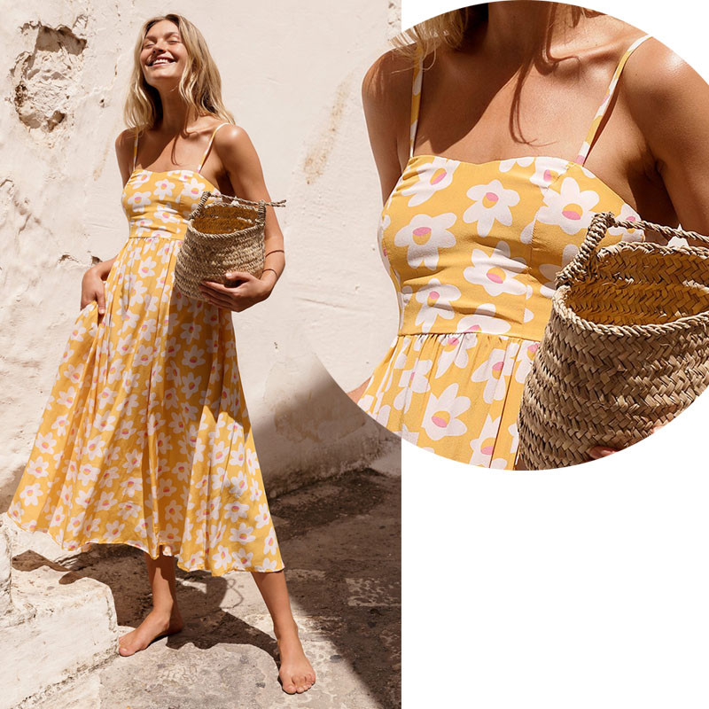 Summer women beach dress floral printing sleeveless mid-calf dresses fashion boho ladies vacation sundress casual vestidos
