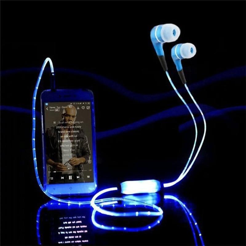 DOITOP 3.5mm Jack Luminous Glowing In-ear Earphone LED Night Light In Ear Earphones Flat Earbuds Glow In The Dark Headset