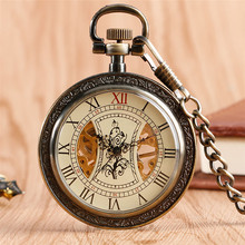 лучшая цена Exquisite Roman Numerals Mechanical Pocket Watch Vintage Bronze 30 cm Pocket Chain Open Face Hand Winding Retro Watch Men Women