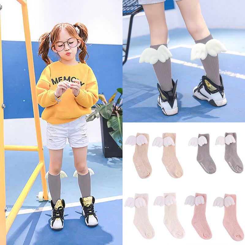 ถุงเท้าเด็กทารก 2019 ทารกแรกเกิด Angel น่ารักปีกเด็กวัยหัดเดินทารกเด็กฝ้ายเข่าฤดูหนาวน่ารักน่ารักของขวัญสบายๆถุงเท้า 0 -4T