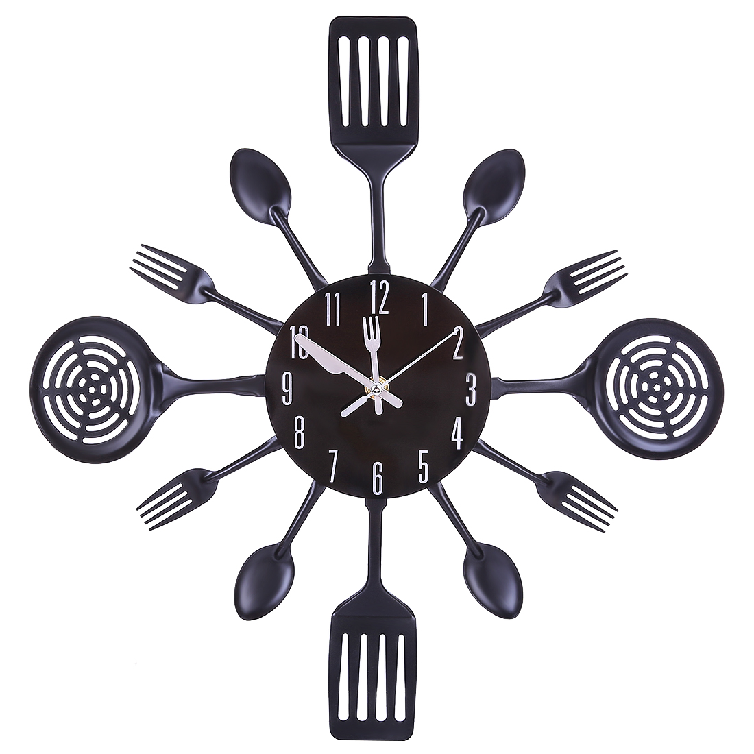 . US  13 6 44  OFF 41 5cm Metal Cutlery Kitchen Wall Clock Quartz Wall Clocks  Modern Design Spoon Fork Clock Home Kitchen Office Decor Gift Black in