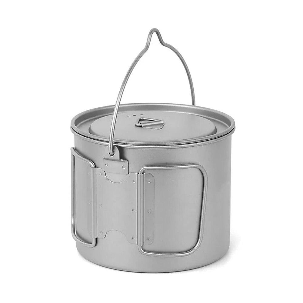 Pot de Camping 1100 ml vaisselle en titane Pot suspendu Portable ultra-léger avec couvercle et poignée pliable Camping en plein air randonnée pique-nique