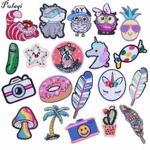 Pulaqi Cartoon Feather Cat Animal Patches for Clothes Diy Cactus Dogs Iron On Appliques Kid Badges Stickers H