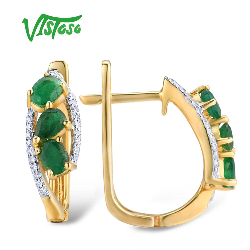 VISTOSO Gold Earrings For Women Pure 14K 585 Yellow Gold Glamorous Elegant Natural Emerald Sparkling Diamond Trendy Fine Jewelry-in Earrings from Jewelry & Accessories    2