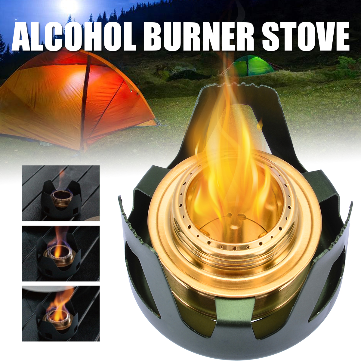 Mayitr Portable Mini Spirit Burner Outdoor Alcohol Stove Barbecue Grill for  BBQ Hiking Camping Tool