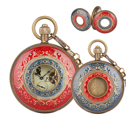 Vintage Pure Copper Mechanical Pocket Watch for Men Horizontal Phases Moon Sun 24-Hour Skeleton Necklace Gift Watches for Women