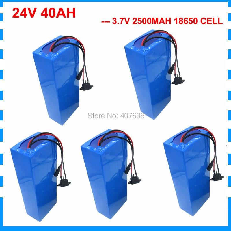 Free taxes 5PCS Wholesale 1000W 24V li-ion battery 24V 40AH electric bike battery 24 V battery with 50A BMS