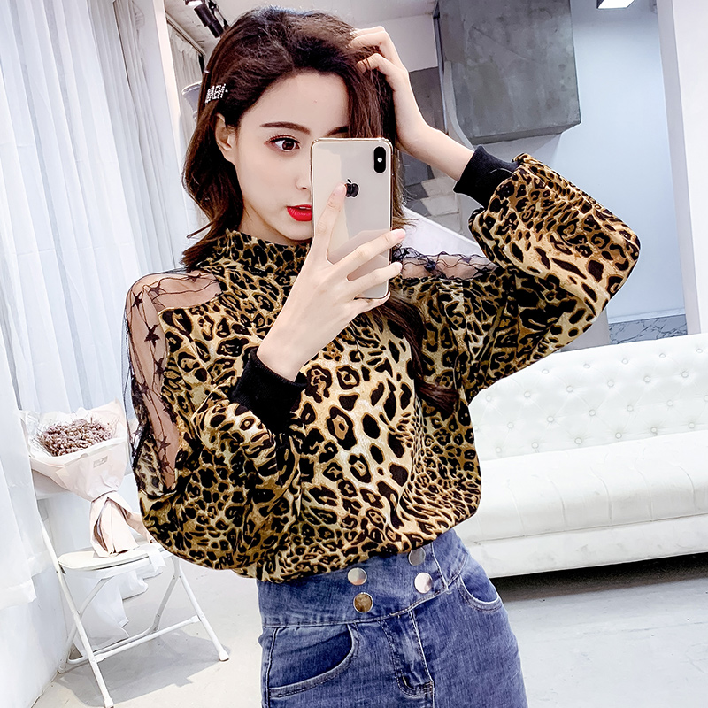 Leopard Blouse Long Sleeve Chiffon Shirt Women Sexy Off Shoulder 2019 Spring Ladies Top Blusas Mujer Verano Tunic Tops Plus Size 2