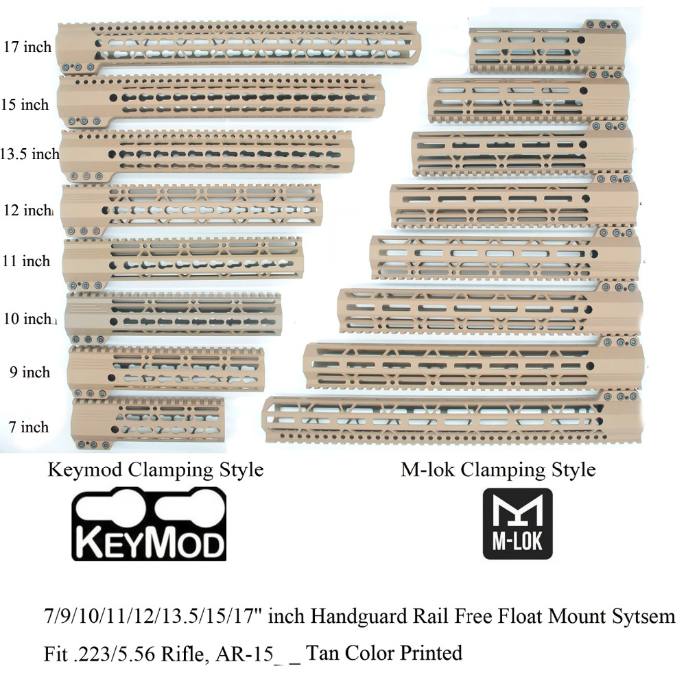Aplus 7/9/10/11/12/13.5/15/17 ''pouces Keymod/m-lok Style de serrage garde-corps système de montage Picatinny Fit. 223/5. 56_Tan couleur
