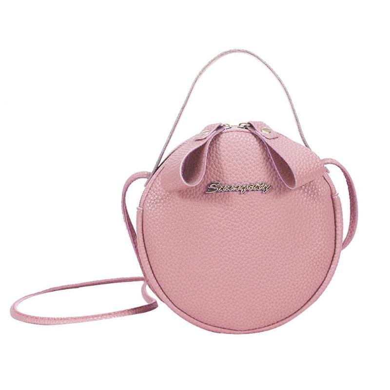 Slung Mobile Phone Bag 2019 New Summer Fashion PU Small Round Bag for Female Personality Shoulder Bag Litchi Rhyme Bag