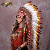 long Indian Feather headdress handmade red and black feather costumes handmade indian feather headdress war bonnet hat costumes