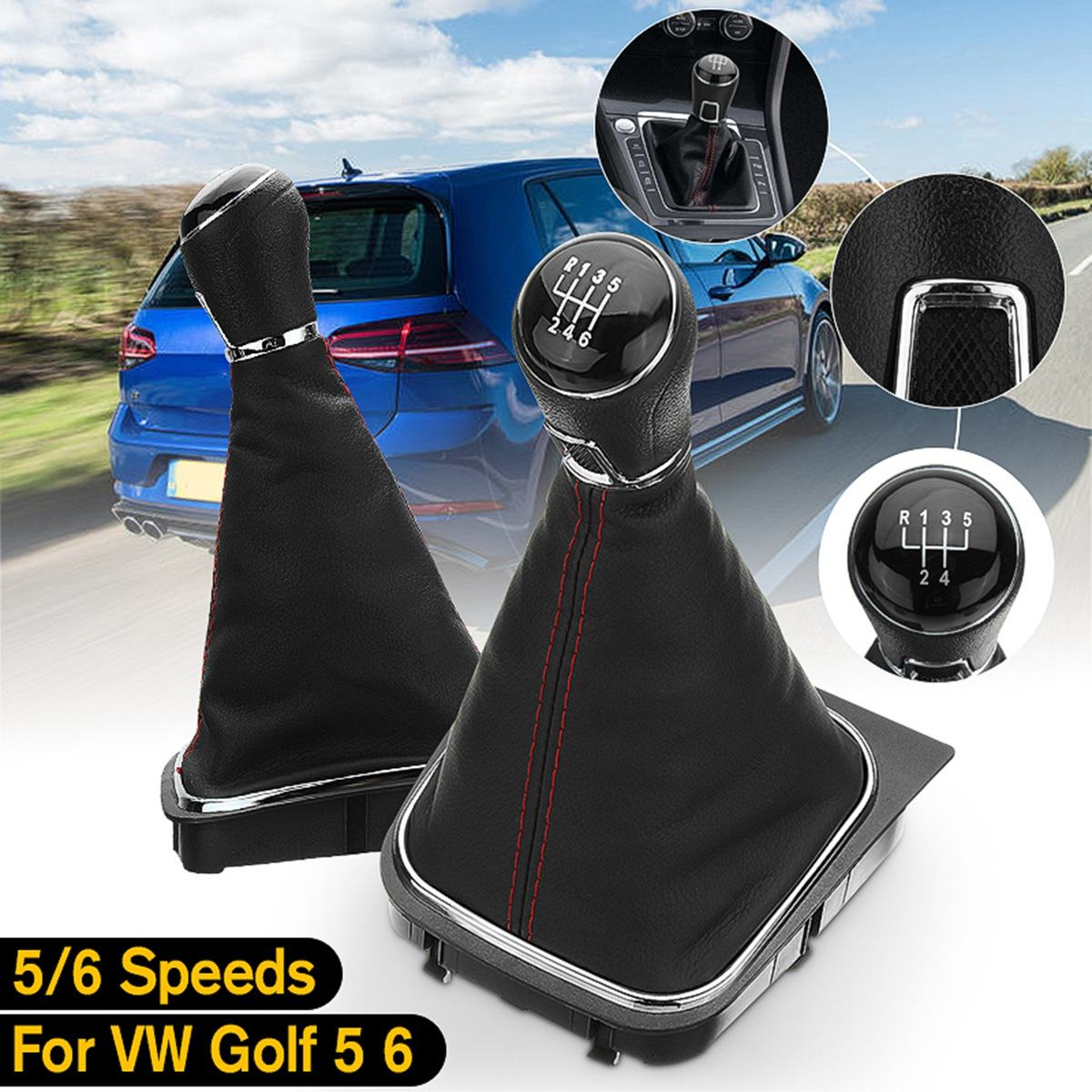 Car Black Manual Transmission Shift Lever Frame Boot Cover