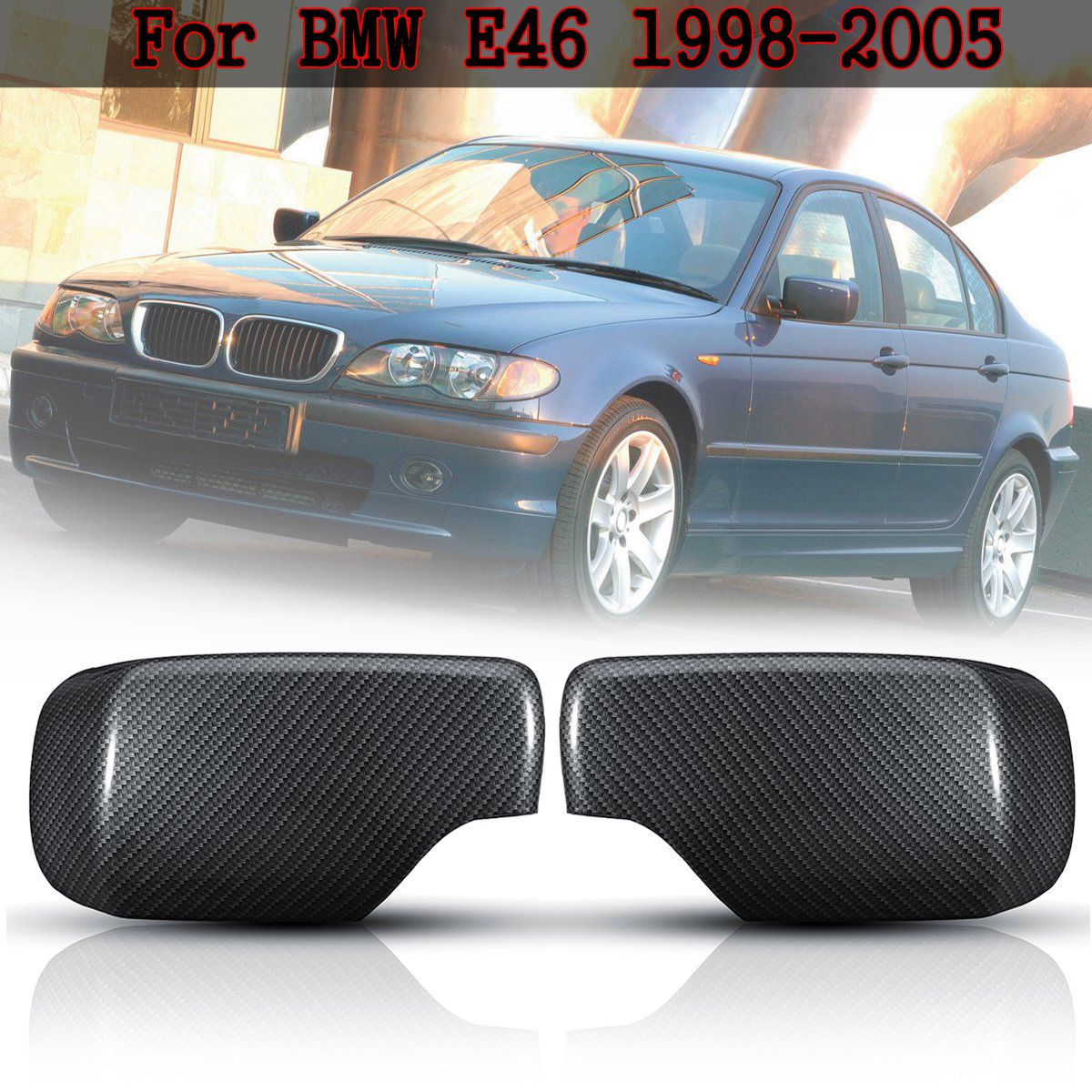 For BMW E46 1998 2005 1 Pair Car Styling Carbon Fiber Wing Door Rearview Heated Mirrors Cap Mirror Covers