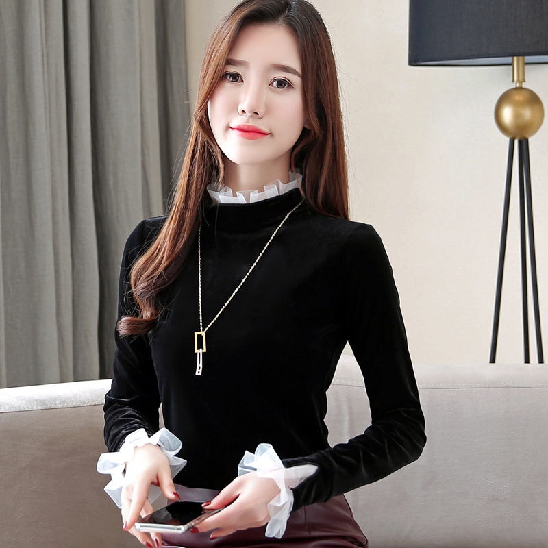 2018 New Vintage Women   Shirts   Ruffled Full Sleeve Lace Pleuche   Blouse     Shirt   Black Add White Wool 9166