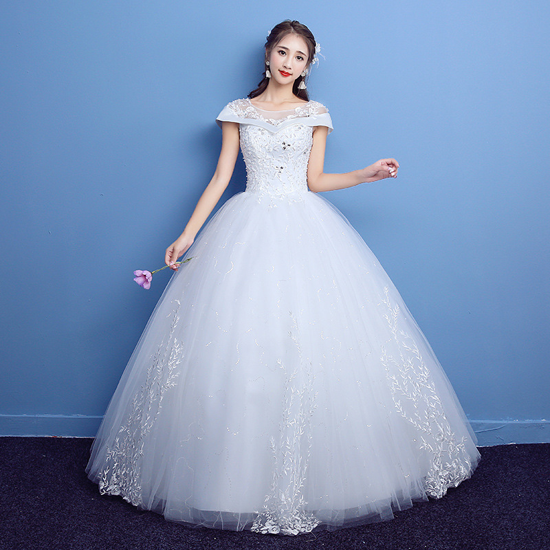 Lace Wedding Dress 2019 Princess Ball Gown Beading O-neck Applique Sparkle Wedding Party Occasion Gowns Detachable Wedding Dress
