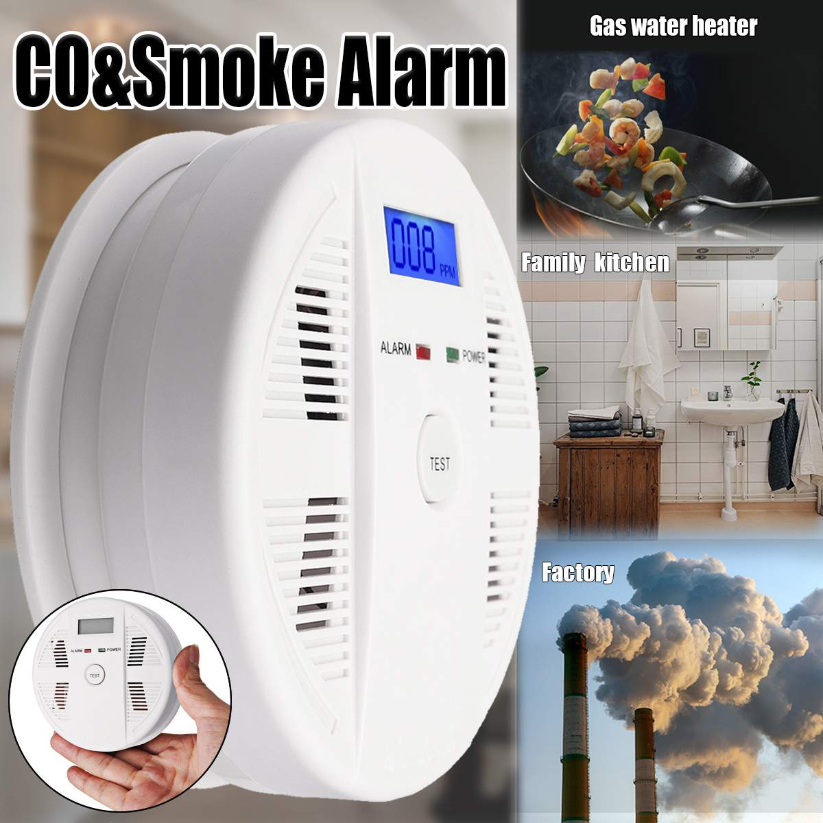 LCD Digital Photoelectric Smoke and Carbon Monoxide Detector Kitchen CO Gas Sensor Poisoning Warning Alarm for Home Security цена