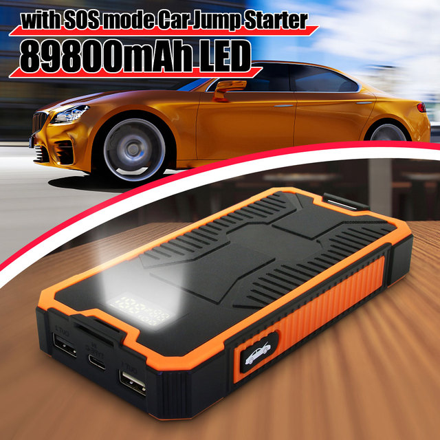 2A Fast Charger Car Jump Starter Power Supply 89800mAh Battery Booster USB Power Bank 9V Dual USB Output With Display