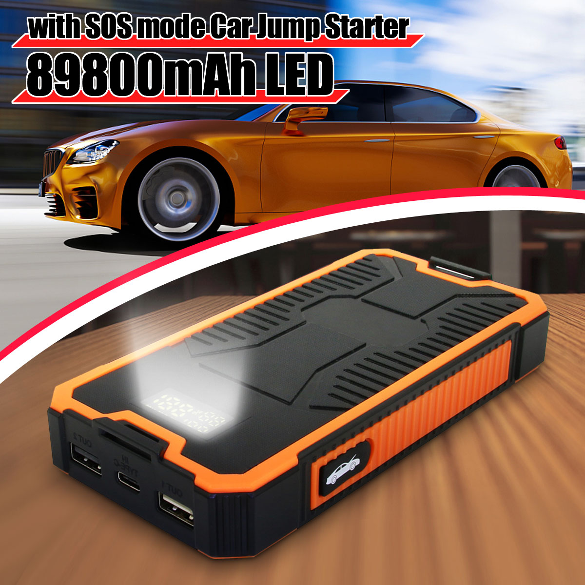 2A chargeur rapide voiture saut démarreur alimentation 89800 mAh batterie Booster USB batterie externe 9 V double sortie USB avec affichage