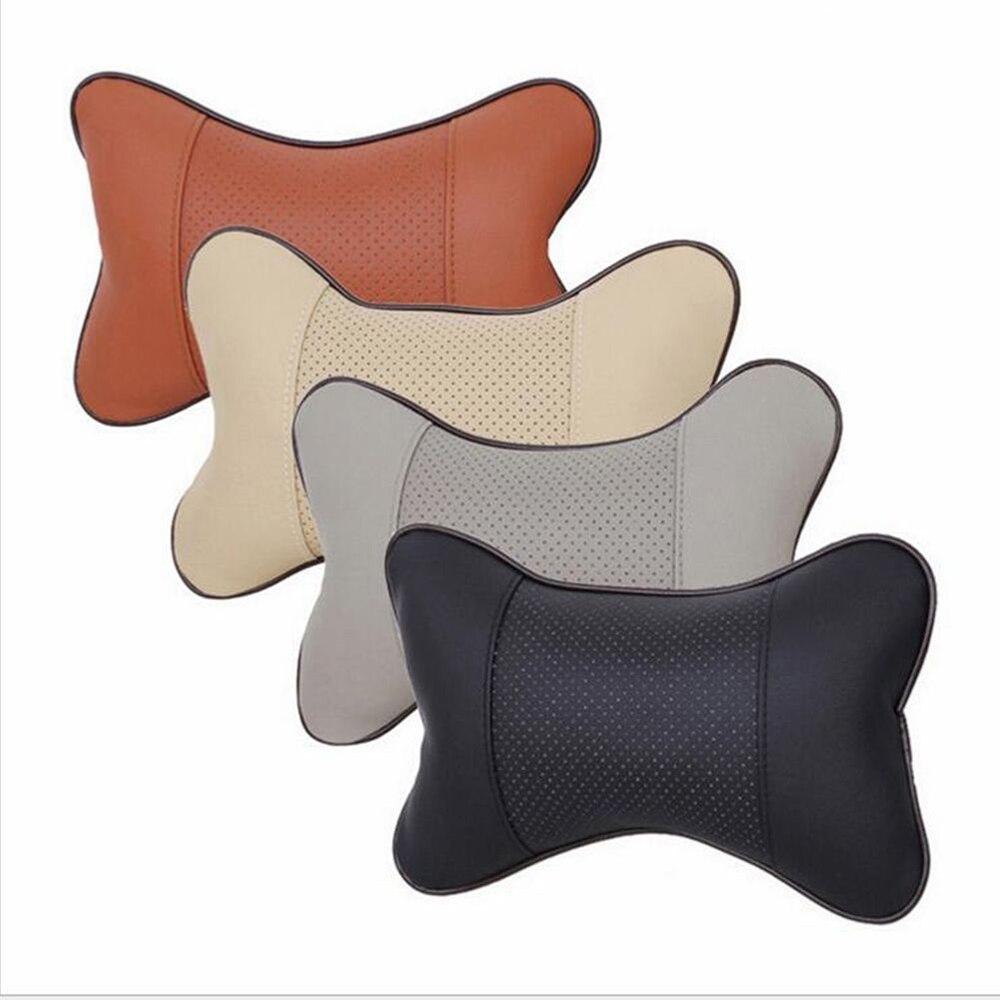1PC Car Headrest Pillow Neck Automotive Leather Pillow Breathable Car Headrest Supplies Seat Neck Safety Pillow