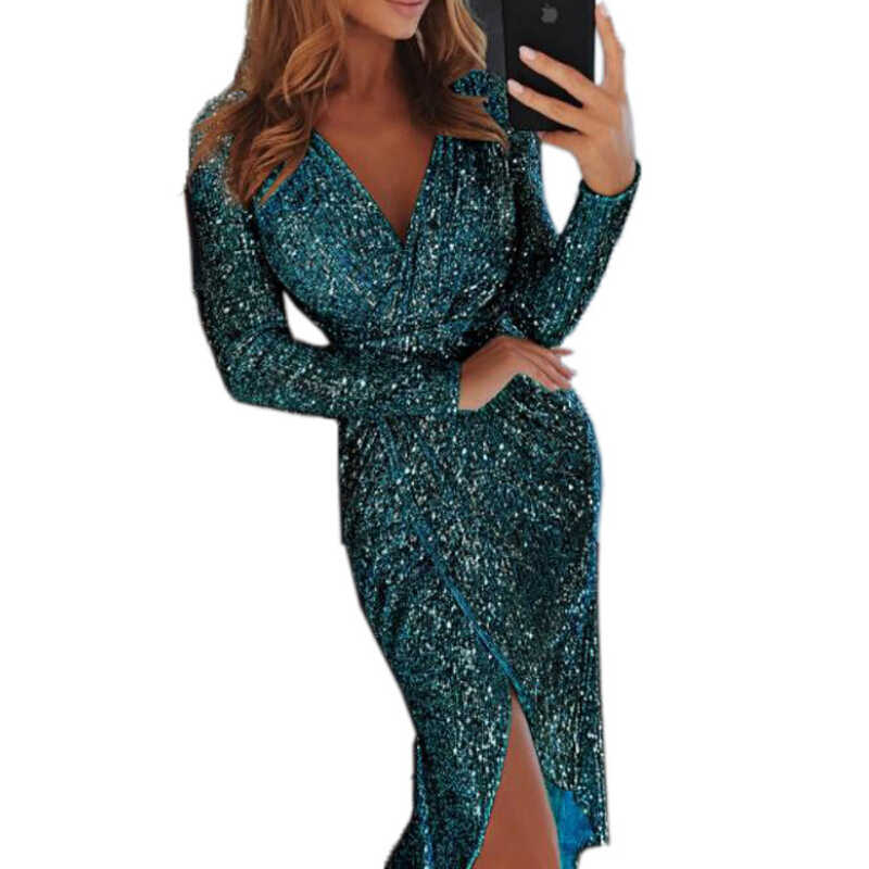ae05e1f4e399 Gold Sequin Dress Women Long Sleeve Sheath Deep V Neck Sexy Dress Female Club  Wear Mini
