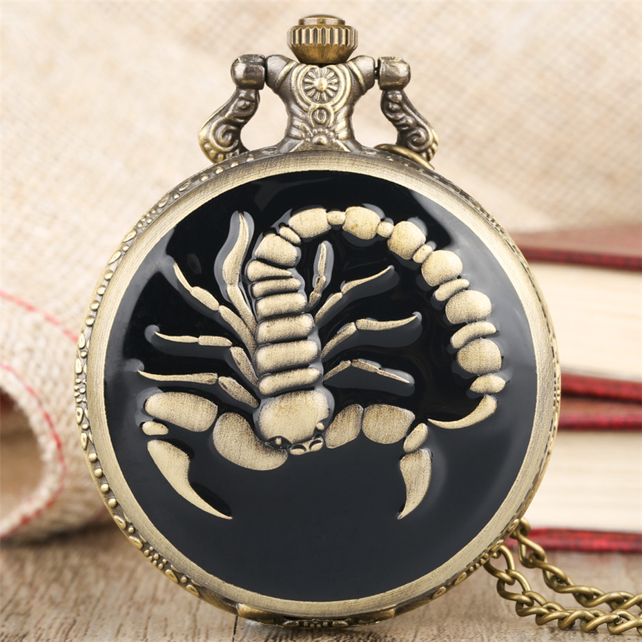 Mysterious Black Scorpion Design Quartz Pocket Watch Retro Bronze Necklace Pendant Fob Clock Gifts For Men Women New 2019