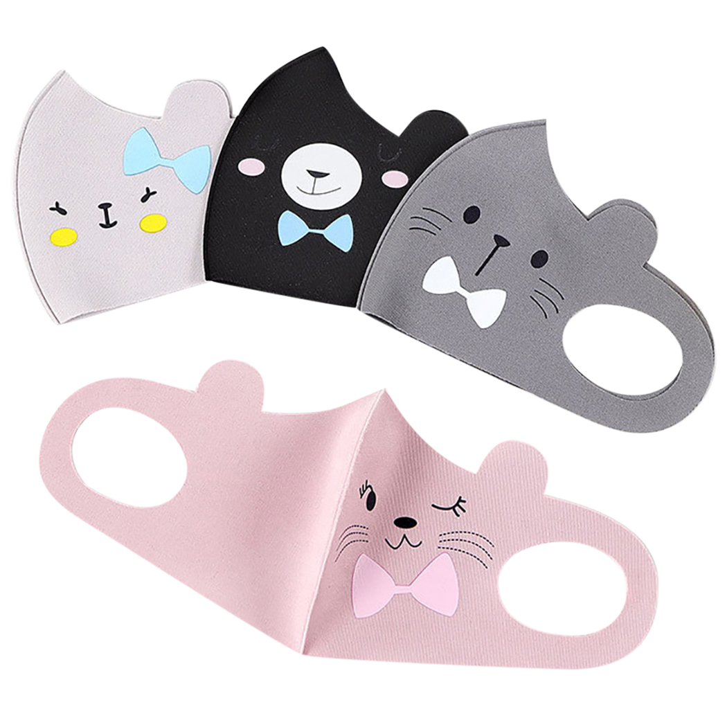 2019 New 4pcs Cartoon Cute Cat Bear Children Mouth Mask Kids Breathable Mask Anti Dust Mouth-Muffle Face Mouth Masks For Girls