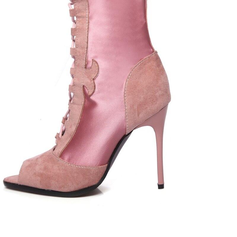 azul Encaje De Cómodas Zapatos Verano Llegada Botas Cremallera Dama Moda rosado Toe Tacones Nueva Peep Negro 2019 Mujer qWFaUg