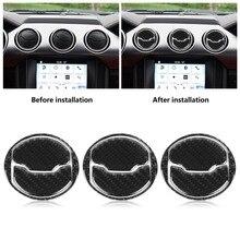 3 pz Anteriore In Fibra di Carbonio di Aria Condizionata Presa Pannello di Copertura Trim per Ford Mustang 15-17 stile Auto Interni accessori