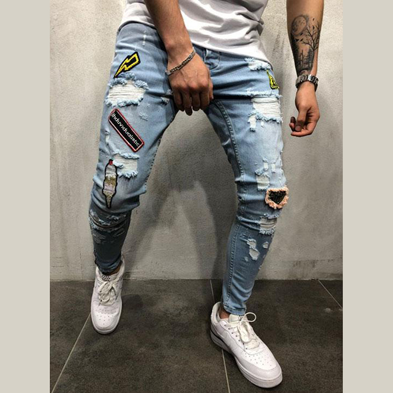 Men Denim Ripped Hole Jeans Slim Patchwork Jeans Hip Hop Skinny Pencil Jeans For Men Clothes 2019 Stretch Embroidery Jeans