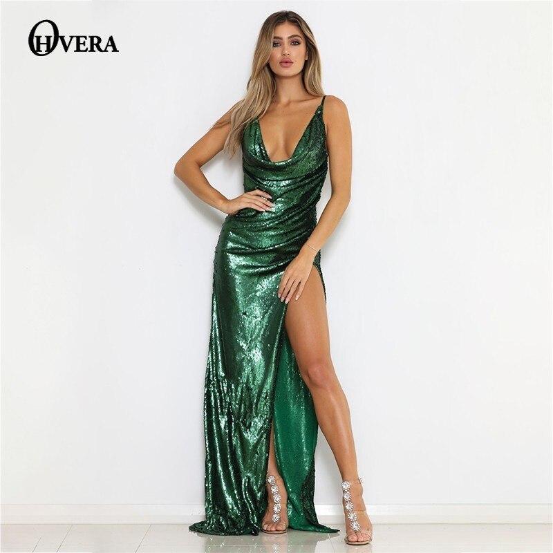Split Deep V Robe Partie Sexy Cou Strap Sequin De Longue vert Marron Backless Robes Spaghetti Femmes D'été Ohvera Haut Maxi PxYqaFw0P