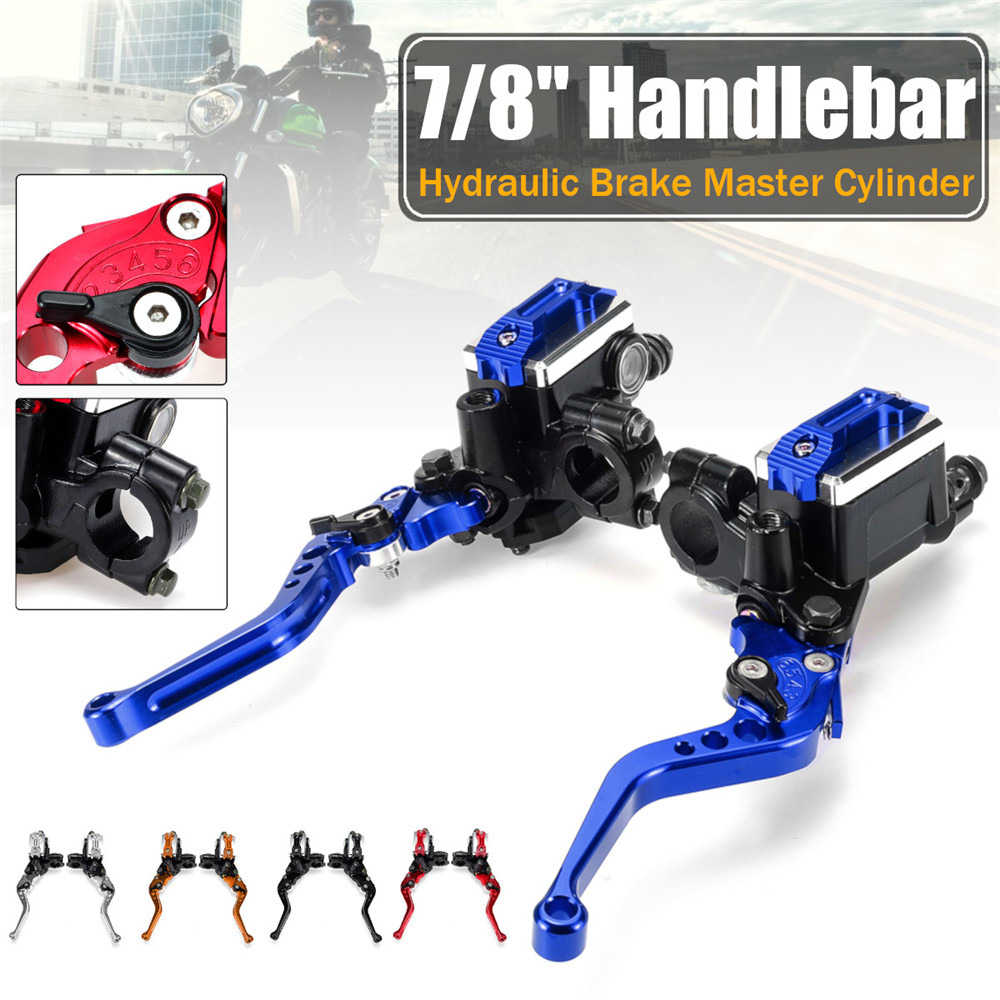 7/8 22cm Motorcycle Master Cylinder Levers Hydraulic Brake Pump Clutch Handle Handlebar Lever Reservoir Set For HONDA Yamaha7/8 22cm Motorcycle Master Cylinder Levers Hydraulic Brake Pump Clutch Handle Handlebar Lever Reservoir Set For HONDA Yamaha