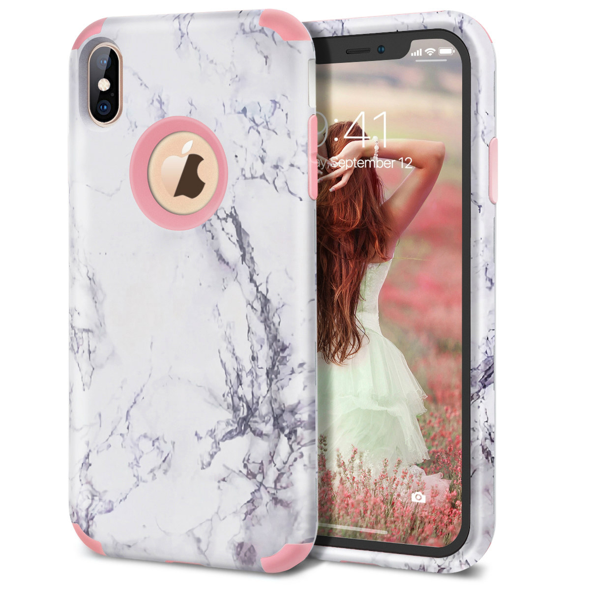Luxury Marble Hard Case for <font><b>iPhone</b></font> X XR XS Max 7 6 6s 8 Plus Cover Silicone Cute Floral Unicorn 3 In <font><b>1</b></font> Case For <font><b>iPhone</b></font> <font><b>5</b></font> 5S SE image