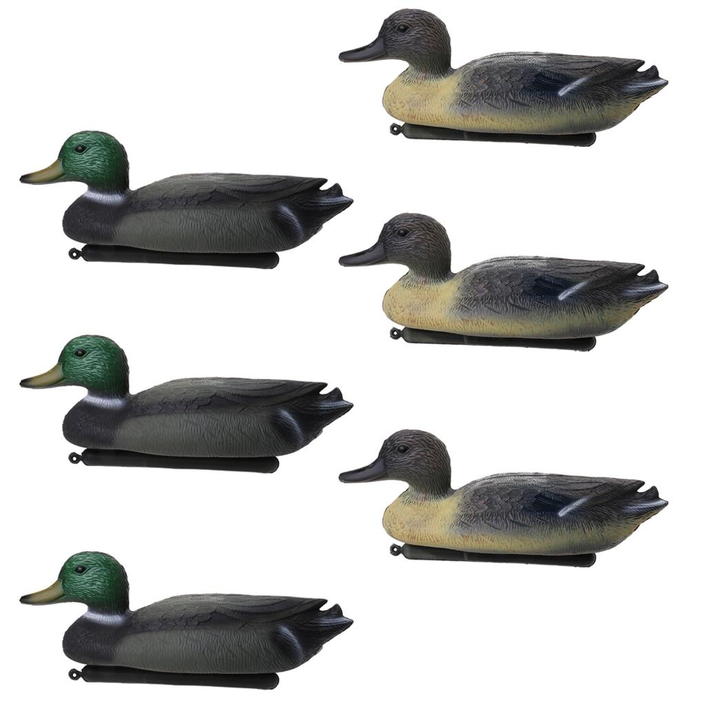 6 pçs pe 3d realista pato chamariz flutuante isca com quilha wildfowler caça isca de pesca para atividades ao ar livre