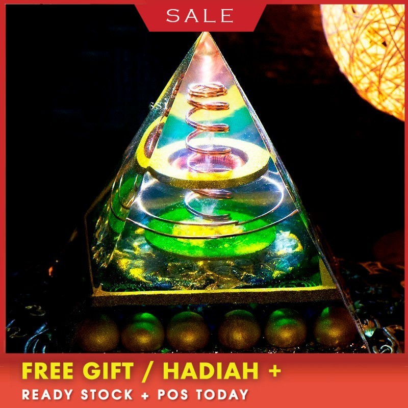 Orgonite Large Pyramid Spiritual Joy Rich Series Auger Energy Amplifier Augon Pyramid Exorcism Resin Decorative Craft Jewelry