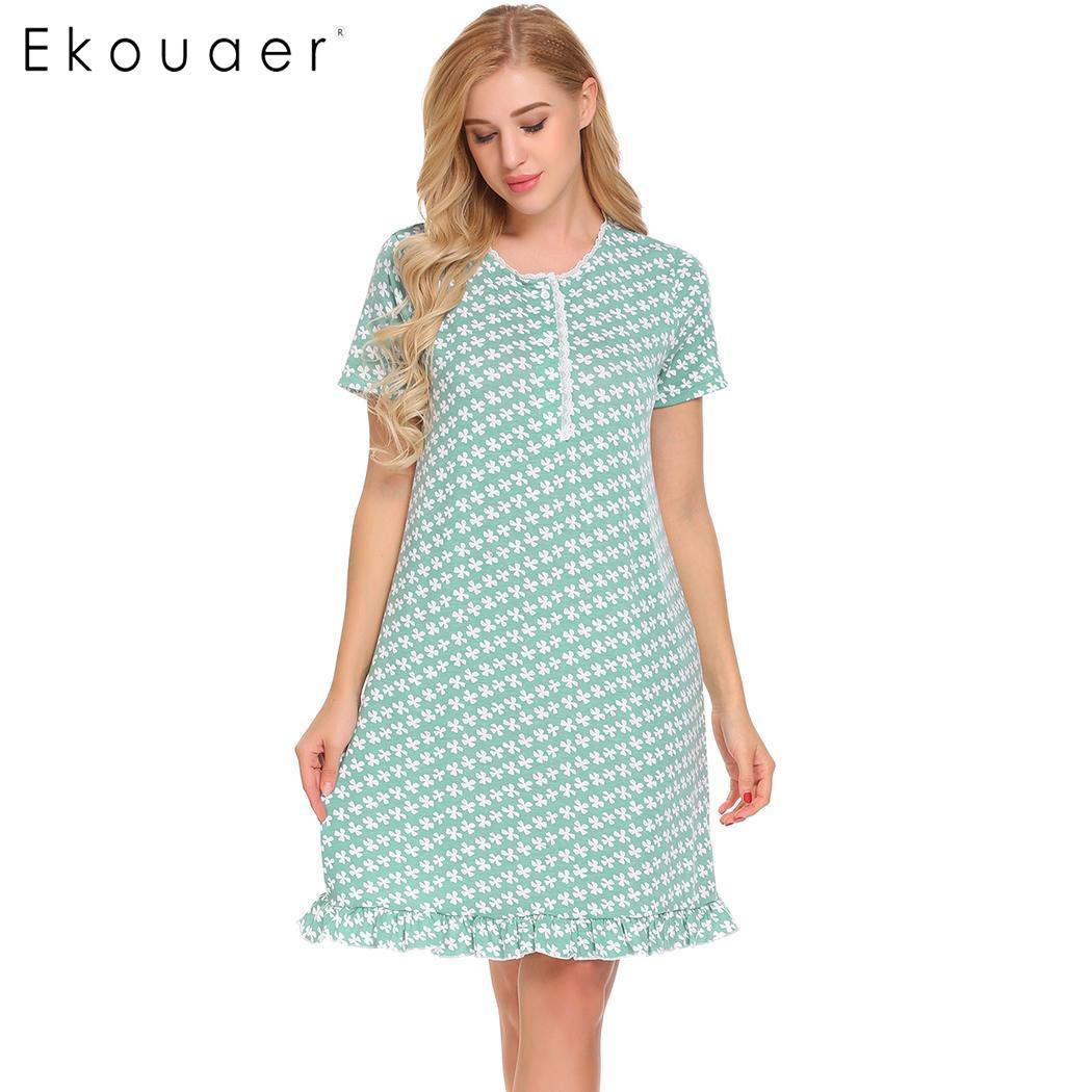 Ekouaer Nighties Dress Women Summer   Nightgown   O-Neck Short Sleeve Floral Ruffles Loose   Sleepshirt   Female Night Dress