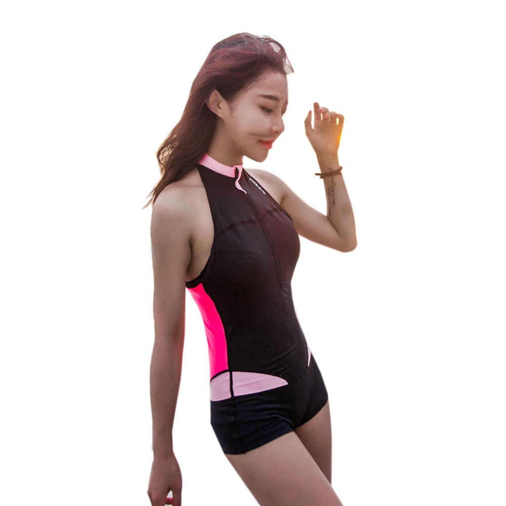 HISEA Vrouwen Rash Guard Lycra Licht Mouwloze Elastische Badpak calico rits Rash Guard Surf Shirt Korte Broek Zwemmen Kleden