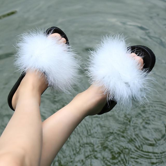 bf10780e1de HENGSONG Fur Furry Slide Sweet Feather Thick Bottom Beach Female Sandals  Hair Flip Flops Women Home Slippers Indoor Soft 888888