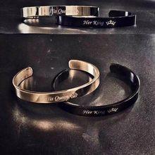 1bfbba59a852 Vnox grabado personalizado básicos brazaletes para las mujeres los hombres  Simple de acero inoxidable par de pulseras de brazale.