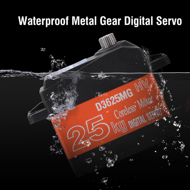 HDKJ D3625 Servo de Metal resistente al agua engranaje Digital Servo de 180 grados 25 KG de alto Torque Servos para la velocidad del coche del modelo RC los barcos parte