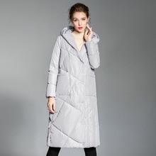 Down jacket woman hooded 2018 winter stylish long overknee down coat white duck women oversize 20186003