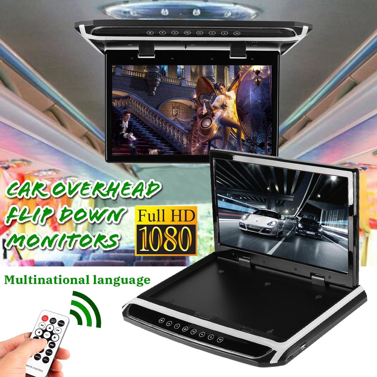 15.6 pouce HDMI 1080 p Voiture Toit Mount Voiture Plafond Flip TV Écran Numérique Moniteur 12 v + À Distance contrôle