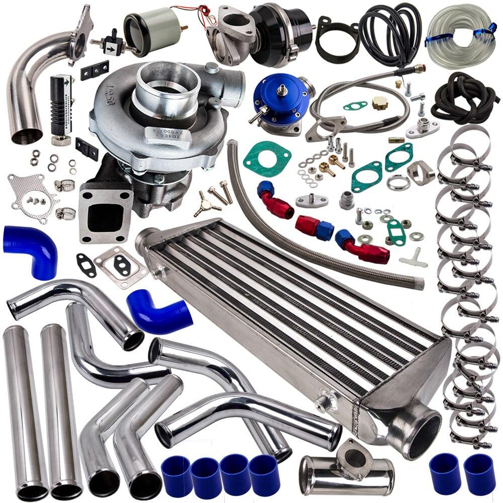 Pour NISSAN TD42 T3/T4 Kit Turbo chargeur + déchet + INTERCOOLER + tuyauterie AR. 63 pour T3 T4 T04E turbocompresseur