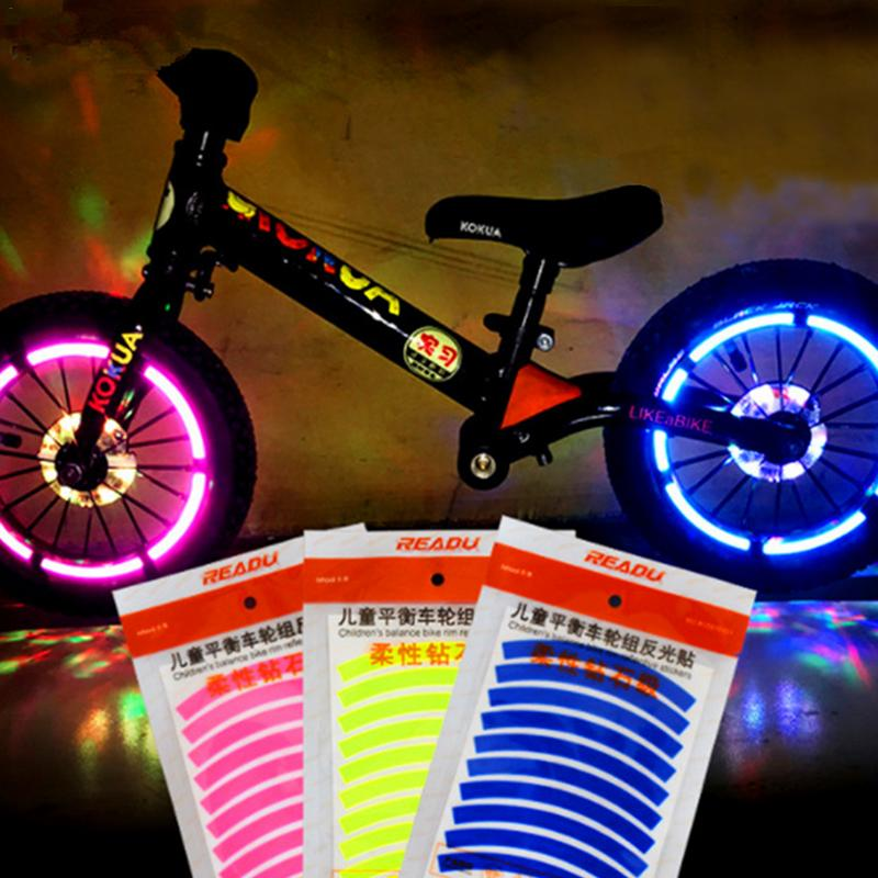 Bike Reflective Stickers Wheel Decals Reflective Tape Safety Strips Bicycle Wheel Stickers For Children Balance Bike Accessories