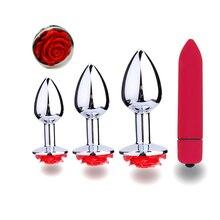 4pc Set Rose Flower Penis Steel Butt Plug Dildo Clitoris Stimulation Vibrator Anal Plug Massager Backyard