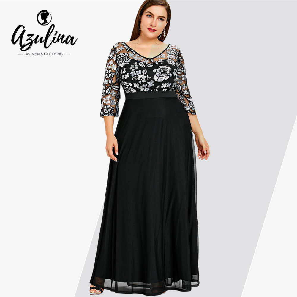 AZULINA Plus Size Sequined Floral Maxi Prom Women Dress Elegant Party Dresses  Large Size 5XL V 36bd7a22d88d